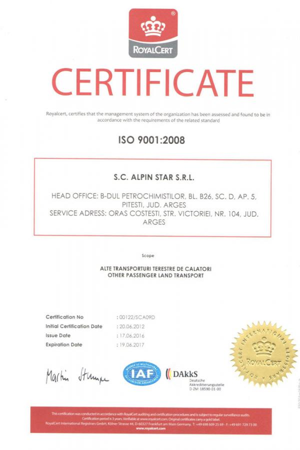 Certificari transport Alpin Star